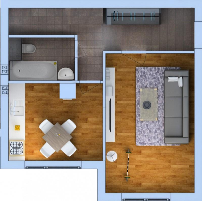 Планировка Однокомнатная квартира площадью 42.04 кв.м в ЖК «Ванино»