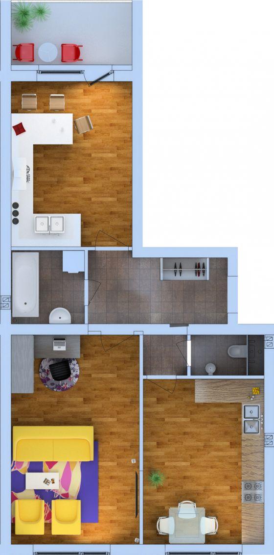 Планировка Двухкомнатная квартира площадью 65.49 кв.м в ЖК «Ванино»