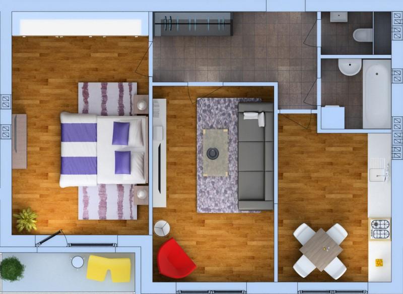 Планировка Двухкомнатная квартира площадью 62.26 кв.м в ЖК «Ванино»