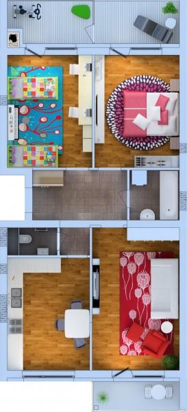 Планировка Трёхкомнатная квартира площадью 88.82 кв.м в ЖК «Ванино»