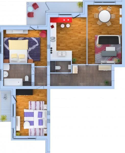Планировка Трёхкомнатная квартира площадью 84.19 кв.м в ЖК «Ванино»