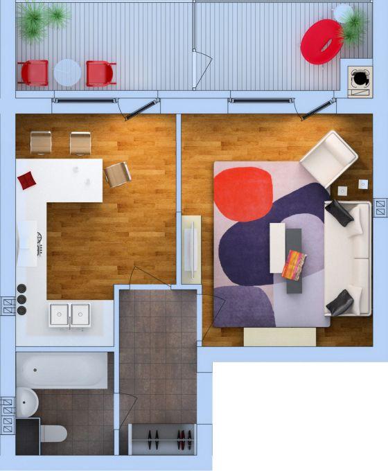 Планировка Однокомнатная квартира площадью 43.02 кв.м в ЖК «Ванино»